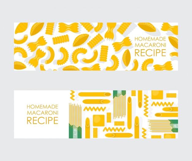 Banner de macarrão caseiro, diferentes tipos de macarrão cru, ingrediente tradicional refeição italiana