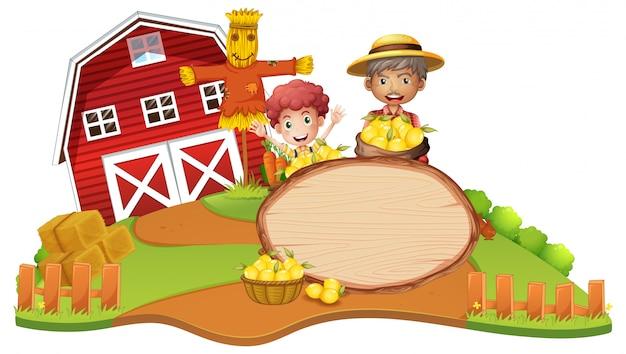 Banner de madeira com tema de agricultor