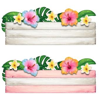 Banner de madeira de verão em aquarela com flores tropicais