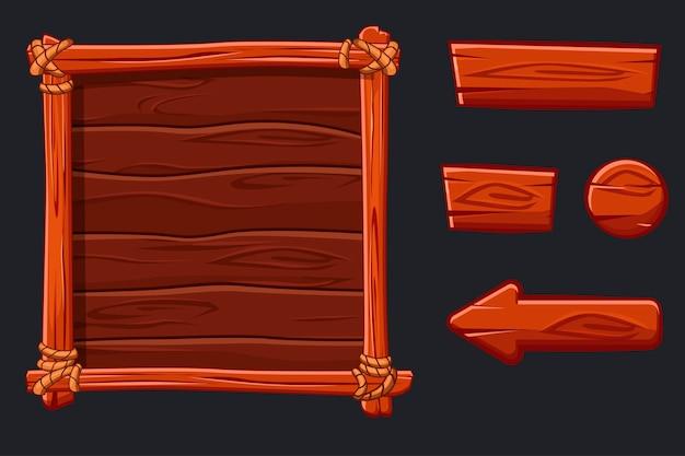 Banner de madeira e botões. definir ativos de madeira vermelhos, interface e botões para jogo de interface do usuário