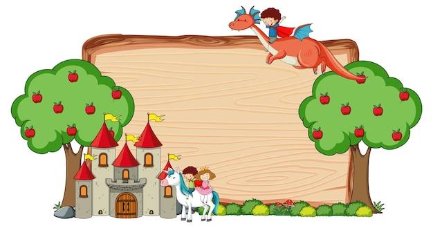 Banner de madeira em branco com personagem de desenho animado de conto de fadas e elementos isolados