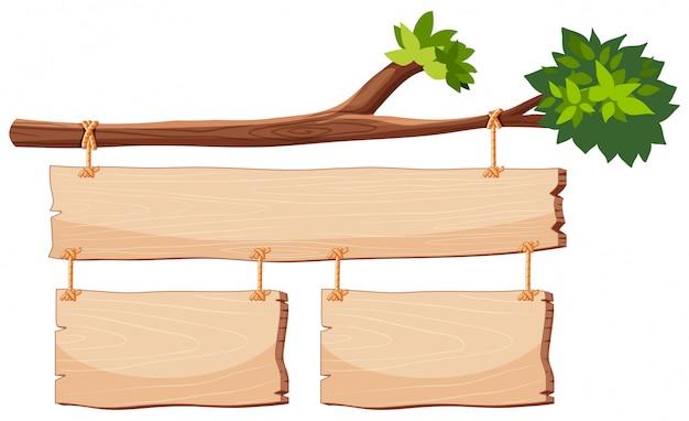 Banner de madeira no ramo de árvore