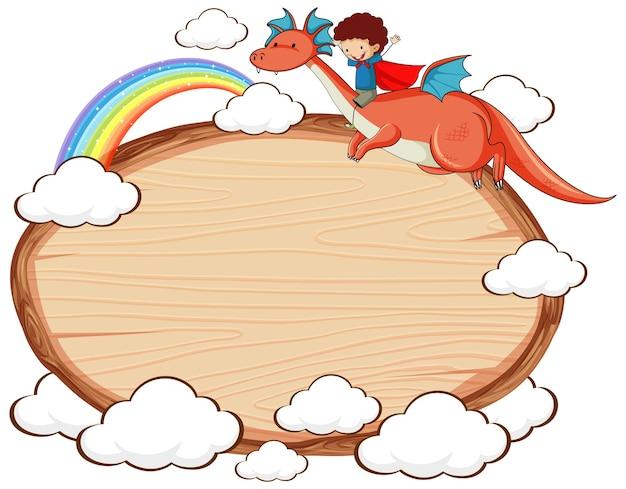 Banner de madeira vazio com personagem de desenho animado de conto de fadas e elementos isolados