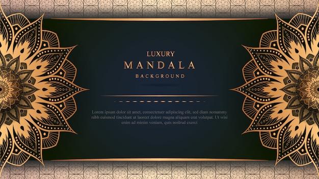 Banner de mandala de luxo com decoração em ouro