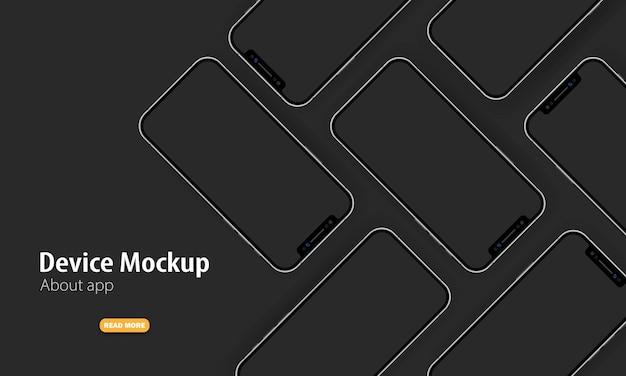 Banner de maquete de telefone. maquete do dispositivo. pode ser usado para app. vetor eps 10. isolado no fundo.
