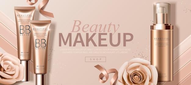 Banner de maquiagem atraente com rosas de papel e produto de base