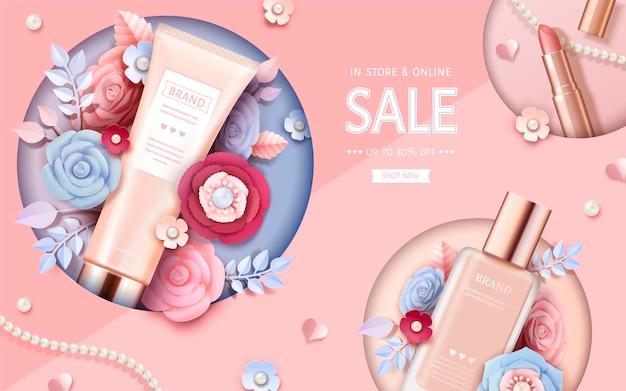 Banner de maquiagem cosmética com lindas flores de papel em rosa pêssego