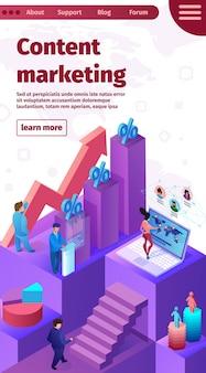 Banner de marketing de conteúdo de ilustração vetorial.
