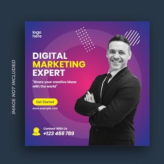 Banner de marketing de negócios digitais para modelo de postagem de mídia social