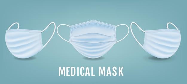 Banner de máscara médica com fundo de hortelã