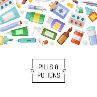Banner de medicamentos, pílulas e poções com lugar para texto