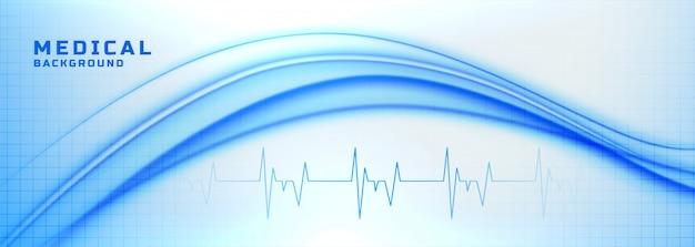 Banner de medicina e saúde com linhas de batimento cardíaco