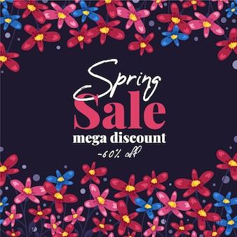 Banner de mega desconto de venda de primavera de design plano
