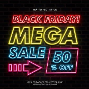 Banner de mega venda da black friday com efeitos de texto em neon