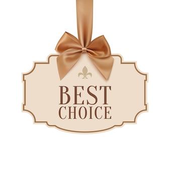 Banner de melhor escolha com fita dourada.