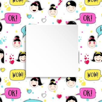 Banner de menina com padrão de emoji de anime. adesivos bonitos com emoticon e papel 3d. banner de menina infantil com rostos asiáticos kawaii.