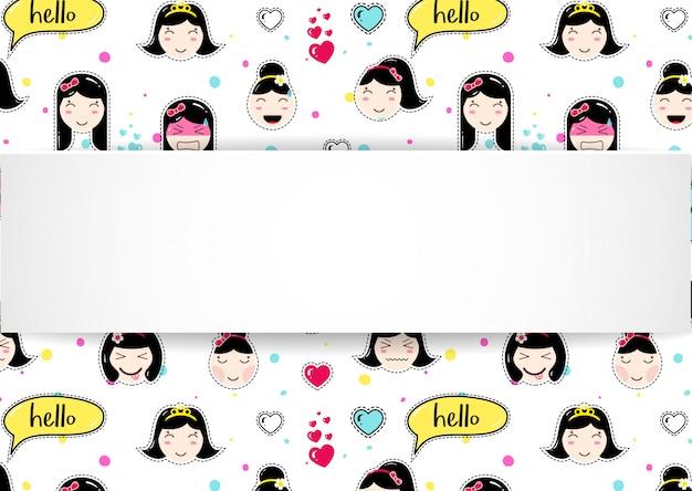 Banner de menina com padrão de emoji de anime. autocolantes fofos com emotico