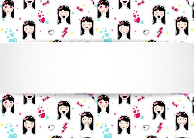 Banner de menina com padrão de emoji de anime.