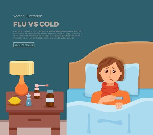 Banner de menina doente na cama com sintomas de resfriado