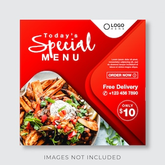 Banner de menu culinária de comida para mídias sociais e modelo de postagem do instagram