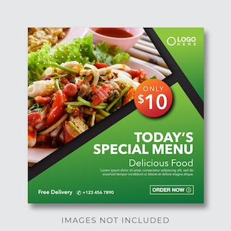 Banner de menu culinário de comida para modelo de postagem em mídia social