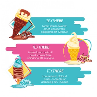 Banner de menu delicioso sorvete loja