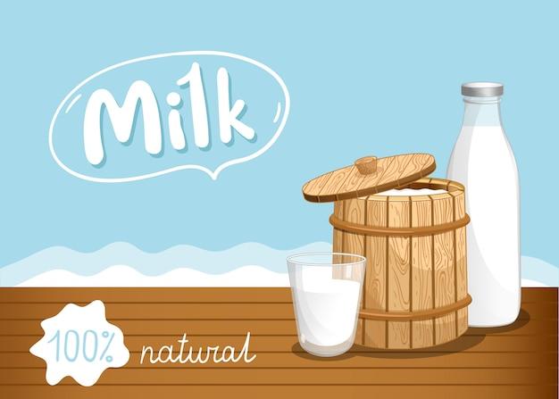 Banner de mercado de agricultores com produtos lácteos