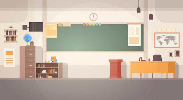 Banner de mesa de escola interior de placa de sala de aula