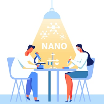 Banner de metáfora de nanotecnologia com equipe de trabalho dos desenhos animados