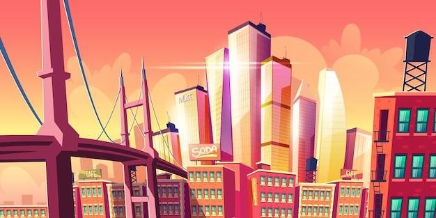 Banner de metrópole de cidade futura crescente