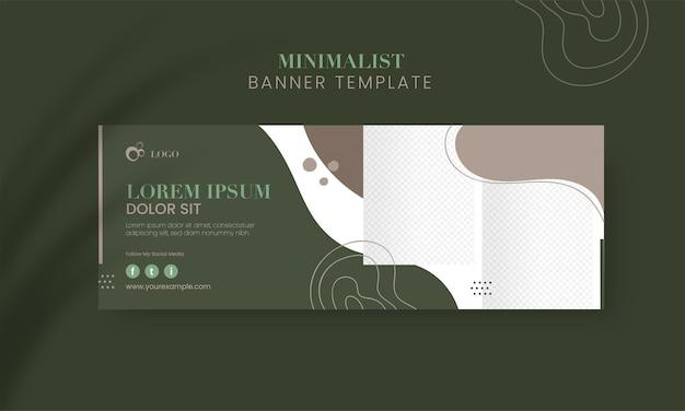 Banner de mídia social abstrato ou cabeçalho, design de modelo com espaço para imagem de produto.