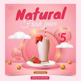 Banner de mídia social com display de produto em 3d em rosa e pódio branco