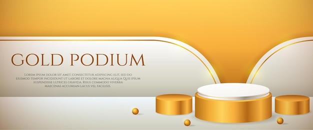 Banner de mídia social com exibição de produto 3d em pódio dourado