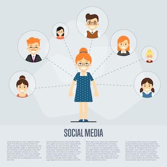 Banner de mídia social com pessoas conectadas