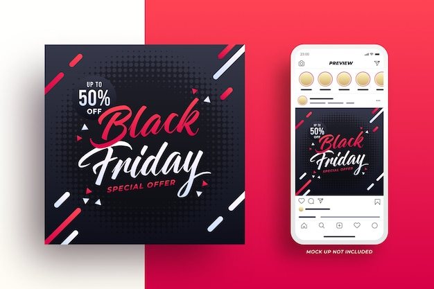 Banner de mídia social da black friday