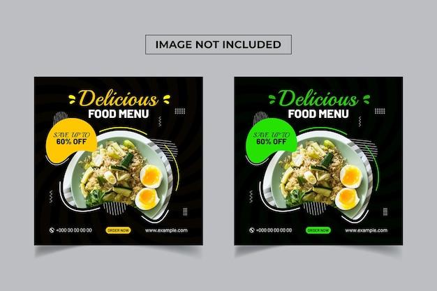 Banner de mídia social de alimentos frescos e saudáveis