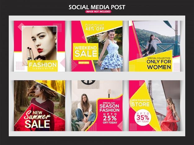 Banner de mídia social de anúncio de moda