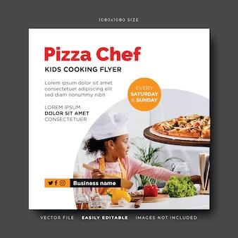 Banner de mídia social de chef de pizza