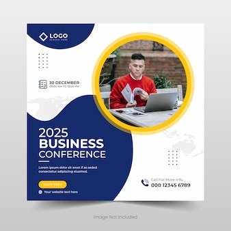 Banner de mídia social de conferência de negócios ou design de modelo de folheto quadrado