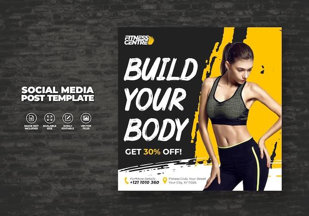 Banner de mídia social de fitness ou academia