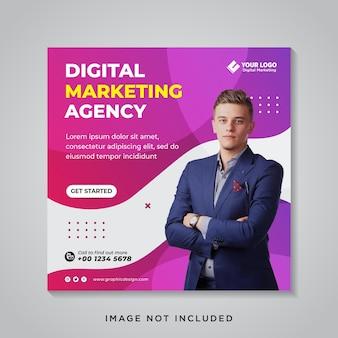 Banner de mídia social de marketing empresarial digital