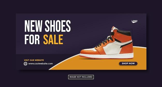 Banner de mídia social de promoção de sapatos novos e design de postagem no instagram
