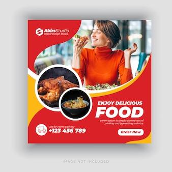 Banner de mídia social de restaurante ou modelo de folheto quadrado