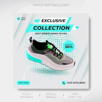 Banner de mídia social de tênis esportivos dinâmicos e design de modelo de postagem do instagram vector premium