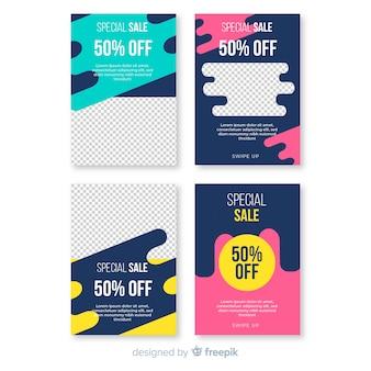 Banner de mídia social de venda com pacote de fotos