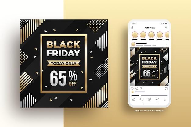 Banner de mídia social de venda da black friday elegante