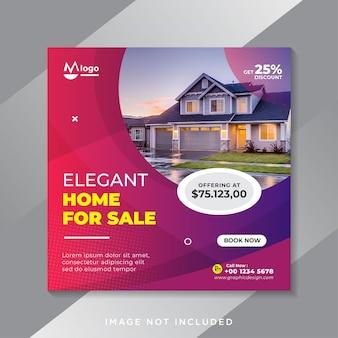 Banner de mídia social de venda de imóveis ou modelo de flyer quadrado Vetor Premium