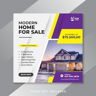 Banner de mídia social de venda de imóveis