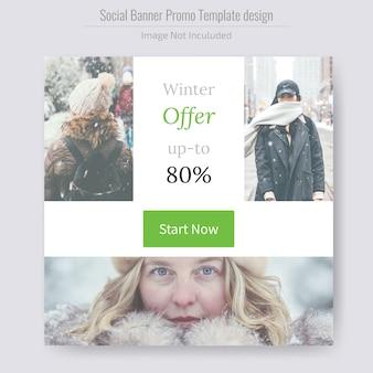 Banner de mídia social de venda de produtos de inverno