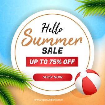 Banner de mídia social de venda de verão com moldura circular